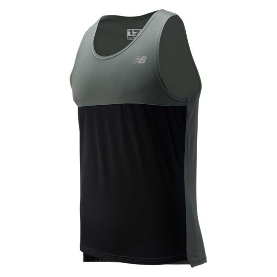 New Balance Mens Accelerate Singlet Green S, Green, rebel_hi-res