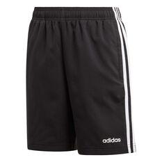 adidas Boys Essentials 3-Stripes Woven Shorts Black / White 6, Black / White, rebel_hi-res