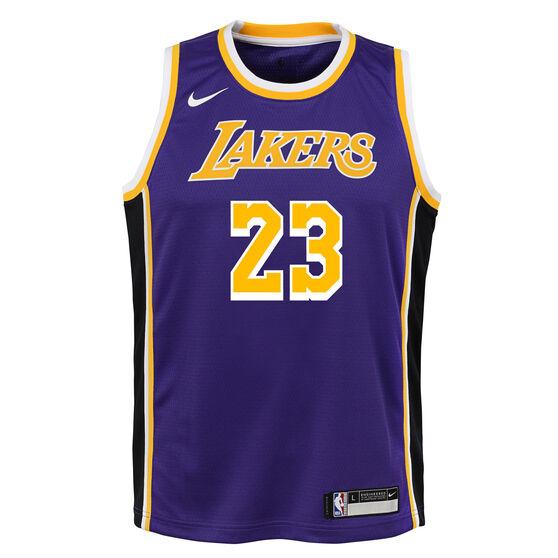 Nike Los Angeles Lakers LeBron James Statement Edition 2019 Kids Swingman Jersey, Blue / Yellow, rebel_hi-res