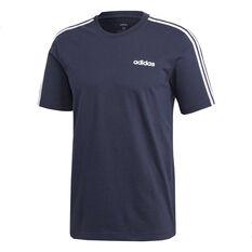 adidas Mens Essentials 3 Stripes Tee Navy S, Navy, rebel_hi-res