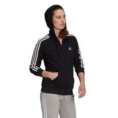adidas Womens Essentials Fleece 3-Stripes Hoodie, Black, rebel_hi-res