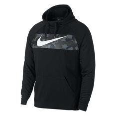 Nike Mens Dri-FIT Fleece Training Hoodie Black S, Black, rebel_hi-res