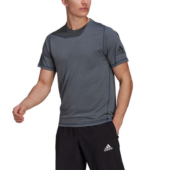 Adidas Mens Freelift Sport Ultimate HeatherTee, Blue, rebel_hi-res