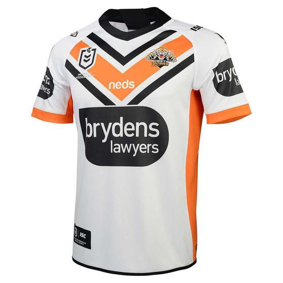 Wests Tigers 2020 Mens Away Jersey, White/Orange, rebel_hi-res