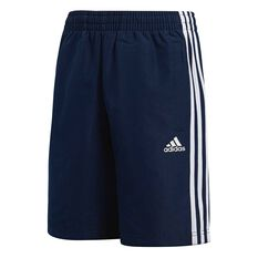 adidas Boys Essentials 3 Stripe Shorts Navy 6 Junior, Navy, rebel_hi-res