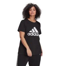 adidas Womens Essentials Logo Tee Black 1X, Black, rebel_hi-res