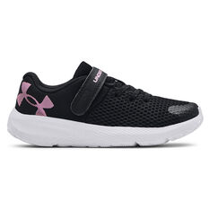 Under Armour Charged Pursuit 2 Kids Running Shoes Black/White US 11, Black/White, rebel_hi-res