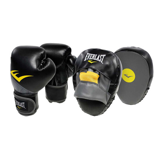 Everlast Boxing Gloves and Boxing Mitts Combo Black 10oz, , rebel_hi-res