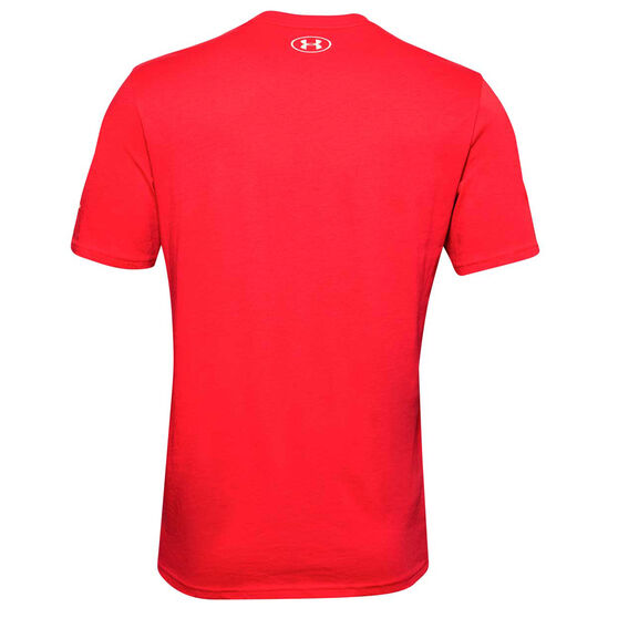 Under Armour Mens Project Rock Mahalo Tee, Red, rebel_hi-res