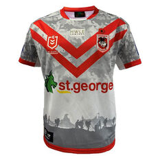 St George Illawarra Dragons 2021 Mens ANZAC Jersey White/Red S, White/Red, rebel_hi-res