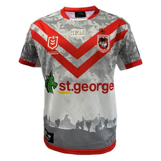 St George Illawarra Dragons 2021 Mens ANZAC Jersey, White/Red, rebel_hi-res