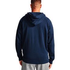 Under Armour Mens Volume Fleece Rival Full Zip Cotton Hoodie Navy XS, Navy, rebel_hi-res