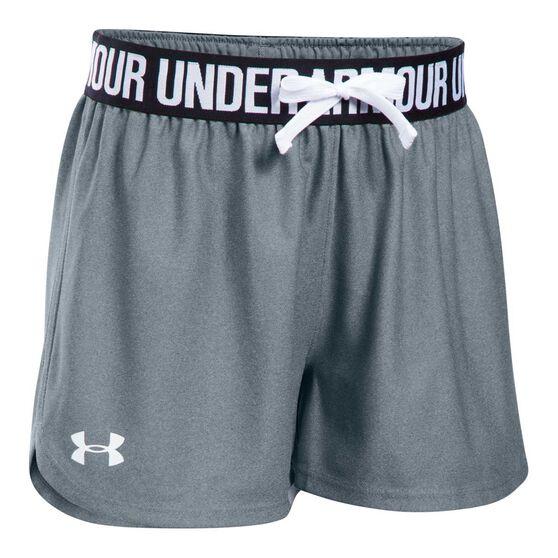 Under Armour Girls Play Up Shorts, Grey / Black, rebel_hi-res