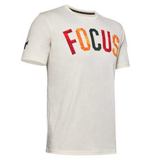 Under Armour Mens Project Rock Mahalo Tee White XS, White, rebel_hi-res