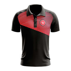 Western Sydney Wanderers 2018/19 Mens Geo Strike Polo Black S, Black, rebel_hi-res