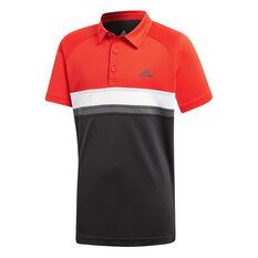 adidas Boys Colour block Club Tennis Polo Black / Red 8, Black / Red, rebel_hi-res