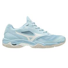 Mizuno Wave Phantom 2 Womens Netball Shoes Blue / White US 6.5, Blue / White, rebel_hi-res