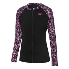 Speedo Girls Longsleeve Zip Up Rash Vest Black 12, Black, rebel_hi-res
