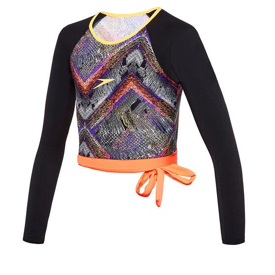 Speedo Girls Chroma Zag Cropped Long Sleeve Rash Vest, Orange, rebel_hi-res