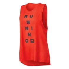 Running Bare Womens Guns Out Muscle Tank Orange 8, Orange, rebel_hi-res