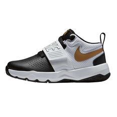 Nike Team Hustle D  8 Junior Boys Basketball Shoes Black / Gold US 11, Black / Gold, rebel_hi-res