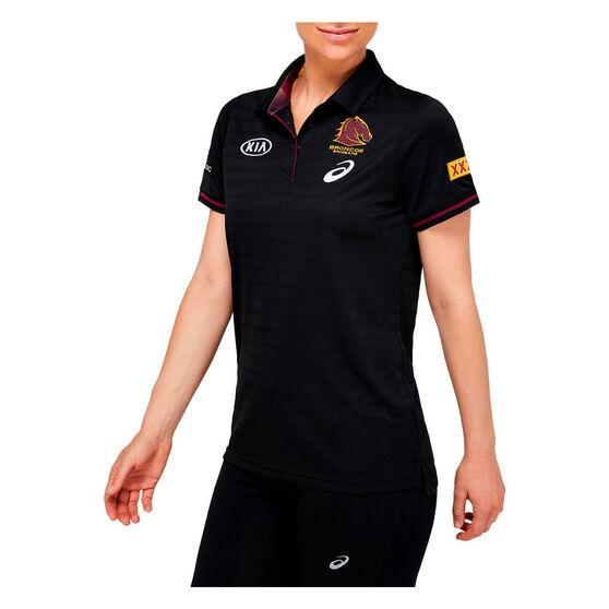 Brisbane Broncos 2021 Ladies Media Polo, Black, rebel_hi-res