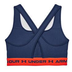Under Armour Womens Mid Crossback Sports Bra Navy XS, Navy, rebel_hi-res