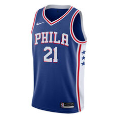 Nike Philadelphia 76ers Joel Embiid 2019 Mens Icon Edition Swingman Jersey Blue S, Blue, rebel_hi-res