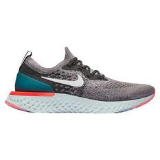 Nike Epic React Flyknit Mens Running Shoes Grey US 7, Grey, rebel_hi-res