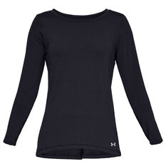 Under Armour Womens HeatGear Armour Long Sleeve Tee Black XS, Black, rebel_hi-res
