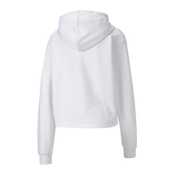 Puma Womens Essentials Metallic Cropped Hoodie, White, rebel_hi-res