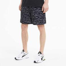 Puma Mens AOP Woven 8in Training Shorts, Black, rebel_hi-res
