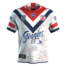 Sydney Roosters 2019 Mens Indigenous Jersey White S, White, rebel_hi-res