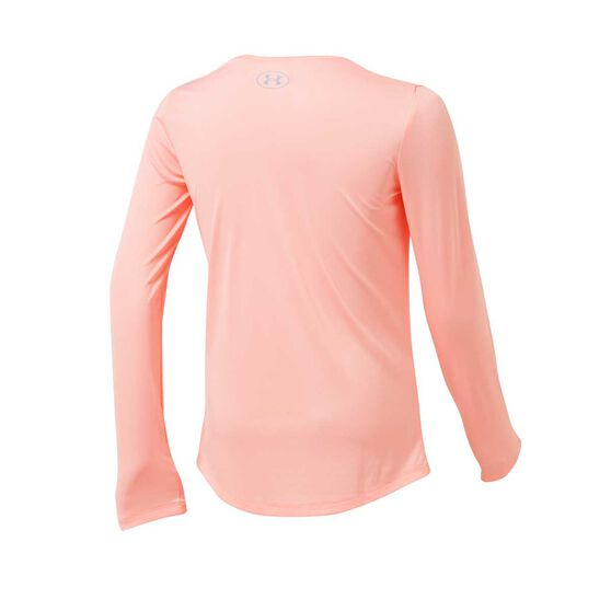 Under Armour Girls Big Logo Graphic Long Sleeve Tee, Peach, rebel_hi-res