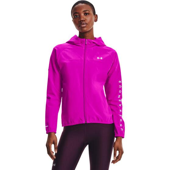 Under Armour Womens Woven Branded Full Zip Hoodie, Pink, rebel_hi-res