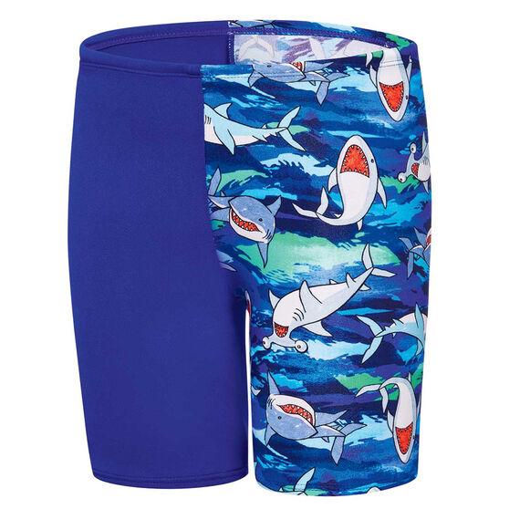 Speedo Boys Camo Shark Jammer Swim Shorts Blue 3, Blue, rebel_hi-res