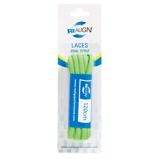 Realign Oval 120cm Fluro Shoe Laces Green, , rebel_hi-res