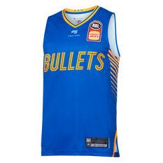 Brisbane Bullets 2019/20 Mens Home Jersey Blue S, Blue, rebel_hi-res