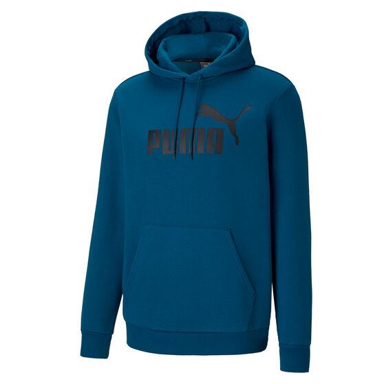Puma Mens Essentials Big Logo Fleece Hoodie, Blue, rebel_hi-res