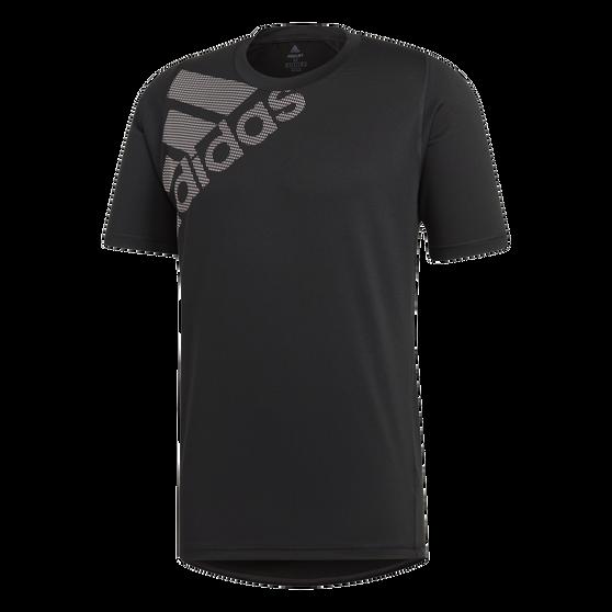 adidas Mens FreeLift Badge of Sport Graphic Tee, Black, rebel_hi-res