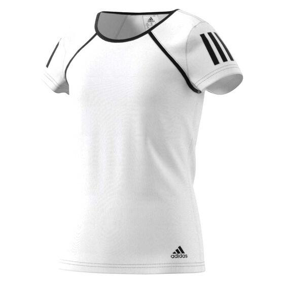 adidas Girls Tennis Club Tee White / Black 12, White / Black, rebel_hi-res