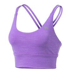 Running Bare Womens Lotus Long Line Sports Bra Purple 8, Purple, rebel_hi-res