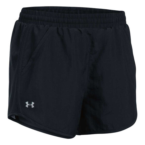 Under Armour Womens Fly By Running Shorts, Black, rebel_hi-res