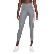 Nike Womens Dri-FIT One Colour-Block 7/8 Tights Grey XS, Grey, rebel_hi-res