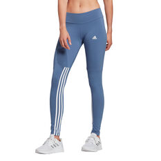 adidas Womens Essentials Cut 3-Stripes Tights Blue XS, Blue, rebel_hi-res