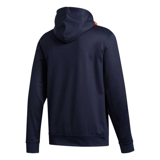 adidas Mens 3 Stripe Tape Pique Fullzip Hoodie, Blue, rebel_hi-res
