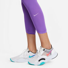 Nike Womens One Luxe Icon Clash Tights, Purple, rebel_hi-res