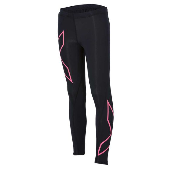 2XU Girls Full Length Compression Tights, Black / Pink, rebel_hi-res