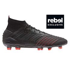 adidas Predator 19.1 Mens Football Boots Black / Red US 7, Black / Red, rebel_hi-res