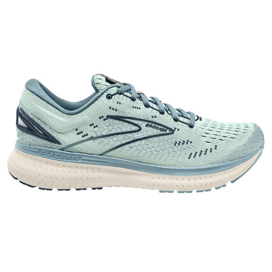 Brooks Glycerin 19 Womens Running Shoes, Aqua/Navy, rebel_hi-res
